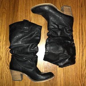 Black Cowboy Heel Boots Women's Size 7.5